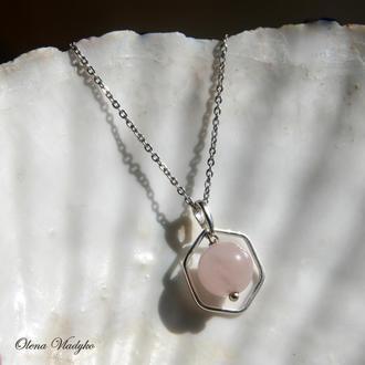 Серебряный кулон с розовым кварцем, серебряная подвеска с розовым кварцем, подарок девушке