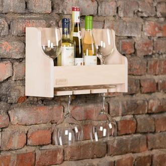 Полка деревянная для алкоголя и бокалов в белом цвете