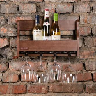 Полка венге для алкоголя и бокалов