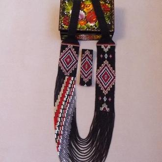 Гердан, бусы из бисера в украинском стиле