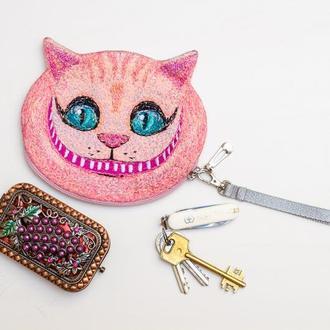 Кошелёк Чеширский кот розовый. Вышитый Чешир. Арт кошелёк. Подарок для художника. Подарок для неё