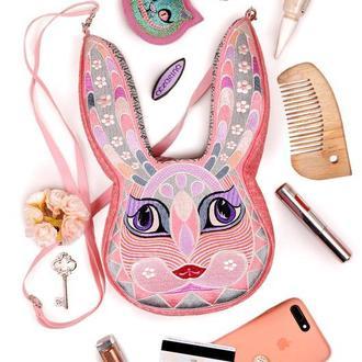 """Сумочка """"Розовый кролик"""". Сумка через плечо. Оригинальная сумка вышитая"""