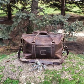 Большая дорожная кожаная сумка Sport&Travel DS, Спортивная сумка из коричневой кожи Crazy Horse