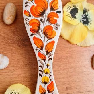 Деревянная массажная расческа Апельсин, щетка роспись