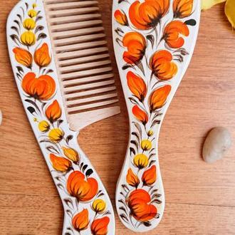 Набор расчесок для волос Апельсин с росписью