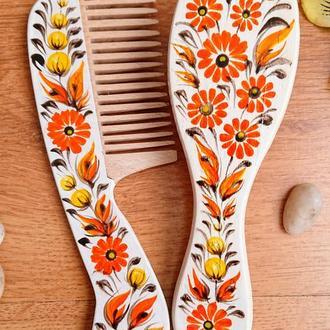 Набор расчесок для волос Календула с  росписью