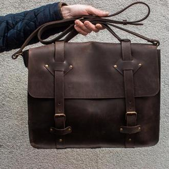 Кожаный мужской портфель. Сумка-портфель. (Арт. 03001)