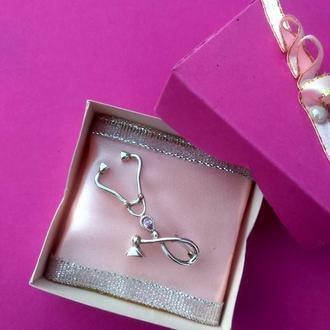 Брошь Стетоскоп. Серебро, розовый циркон.