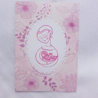 Открытка календарик к 8 марта - подарок для мамы, бабушки, сестры, тети, жены, дочки, девушки