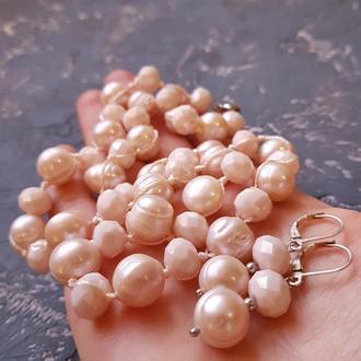 Комплект з натуральних перлів намисто та сережки