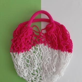 Авоська белая с ярко-розовым, сумка для покупок, стильный аксессуар