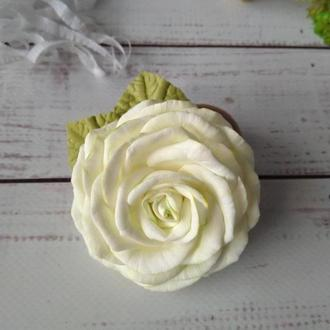 Роза на резинке, резинка для волос, цветы в волосы, цветы на резинке, Роза из фоамирана