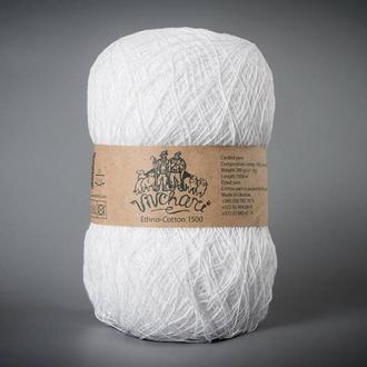 Пряжа для вязания Vivchari Ethno-cotton 1500 метров 101 белый
