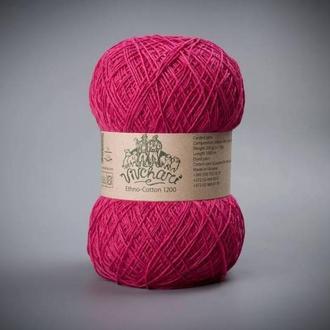 Пряжа для вязания Vivchari Ethno-cotton 1200 метров 008 фуксия