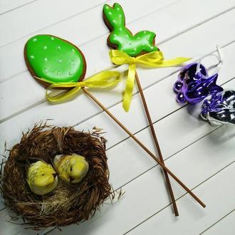 Набор пряничных топперов в паску зайка + яйцо