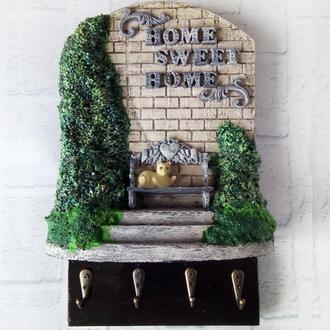 Настенная ключница - панно Милый дом (Home sweet home)