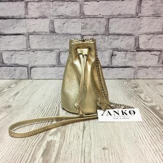 """Женская сумочка """"Бель"""" через плечо из натуральной кожи золотого цвета, кроссбоди, клатч"""