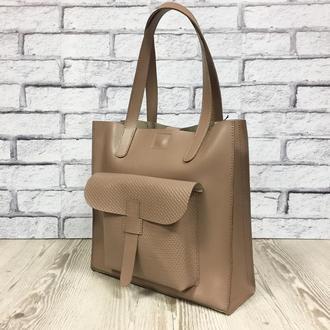 """Женская сумка """"Гарда"""" на плечо из натуральной кожи бежевого цвета"""