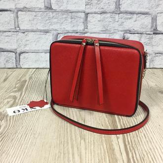 """Женская сумка """"Квадро"""" через плечо красного цвета из натуральной кожи, кроссбоди"""