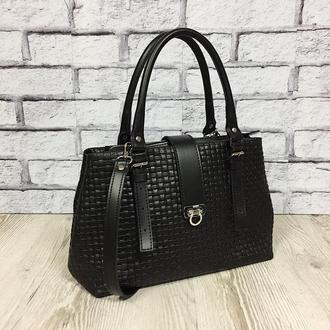 """Классическая женская сумка """"Хлоя"""" из натуральной кожи черного цвета"""