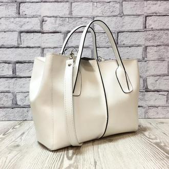 """Классическая женская сумка """"Форта"""" из натуральной кожи белого цвета, белая сумка"""