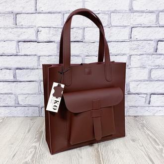 """Женская сумка """"Гарда"""" натуральная кожа бордового цвета, шоппер, сумка на плечо"""