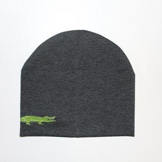 """Детская шапка с вышивкой """"Crocodile"""""""