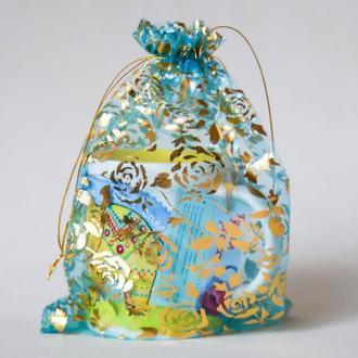 Подарочные мешочки для чашек-Золотые розы на прозрачной бирюзе