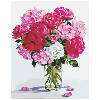 Набор для рисования по номерам Розы в стеклянной вазе