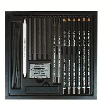 Карандаши чернографитные простые CRETACOLOR набор 20предм в дер. кор. Black Box 46040