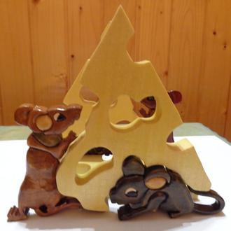 Салфетница стиль интарсия ручная работа Мыши с сыром мозаика по дереву