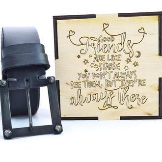 Чёрный мужской ремень с кованной чёрной пряжкой. Подарок мужчине.