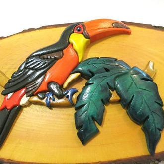 Картина Птица Тукан интарсия натуральное дерево