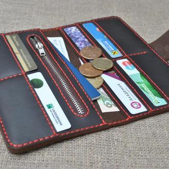 Вместительный кошелек из натуральной кожи K27h-450+red