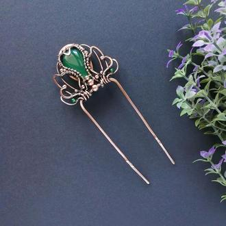 Шпилька для волос с зеленым ониксом и агатом. Медная заколка для волос. Подарок девушке