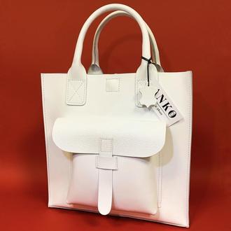"""Женская сумка """"Гарда"""" из натуральной кожи белого цвета, классическая сумка"""