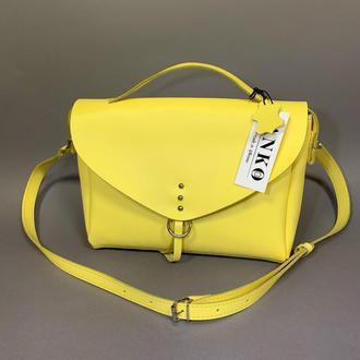 """Женская сумка """"Дороти"""" из натуральной кожи желтого цвета, кроссбоди, сумка-портфель"""