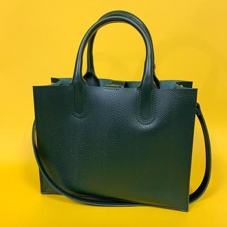 """Женская сумка """"Соло"""" из натуральной кожи зеленого цвета, классическая сумка, тиснение под рептилию"""