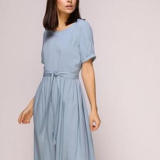 Платье миди голубое (S)