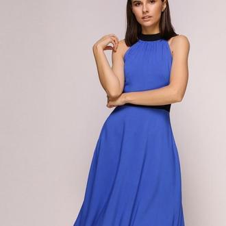 Платье синее с черными вставками