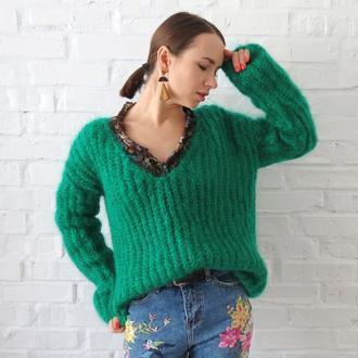 Фактурный вязаный свитер женский Пулловер оверсайз
