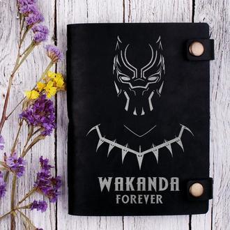 """Кожаный черный блокнот """"Wakanda"""""""