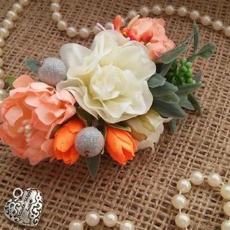Гребешок свадебный в стиле Peach Wedding