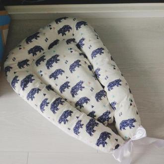 Гнездышко для новорожденного с мягким плюшем (кокон, бебинест) Polar Bear soft minky