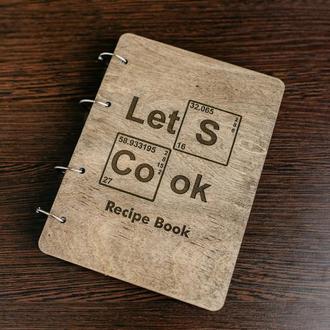 """Блокнот в деревянной обложке """"Let's cook"""""""