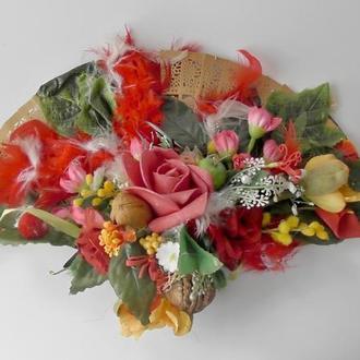 Композиция настенная Веер декор цветы