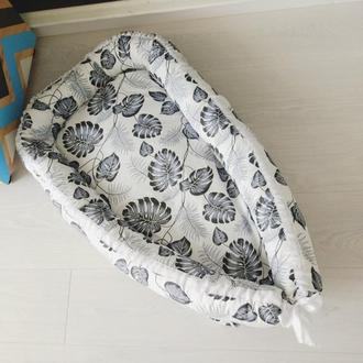 Гнездышко для новорожденного (кокон, бебинест) Monstera Monochrome