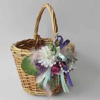 Пасхальная  плетеная Корзина детская  с цветами