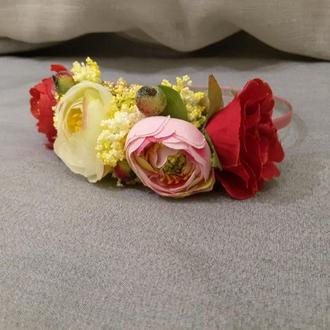 Ободок/Венок на голову из искусственных цветов №28