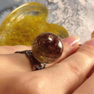 Кольцо с цветком клевера на кружевной основе